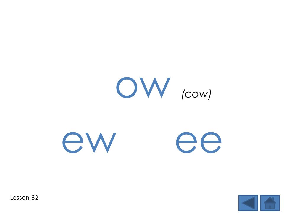 Lesson 32 ow (cow) ew ee