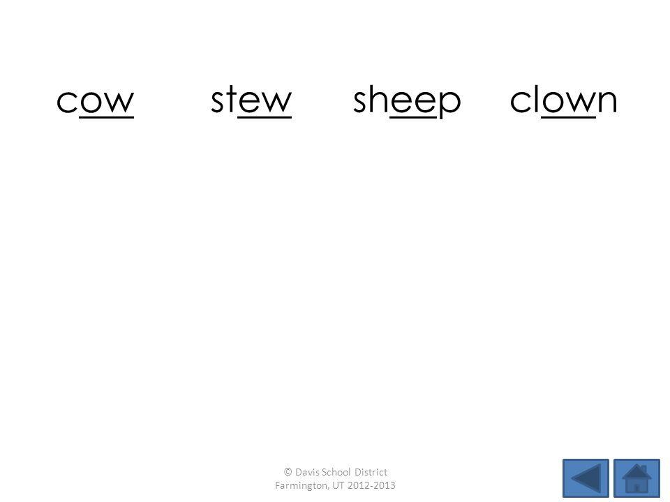 cow stewsheepclown crew peekfewtown newdowndewsleep © Davis School District Farmington, UT 2012-2013