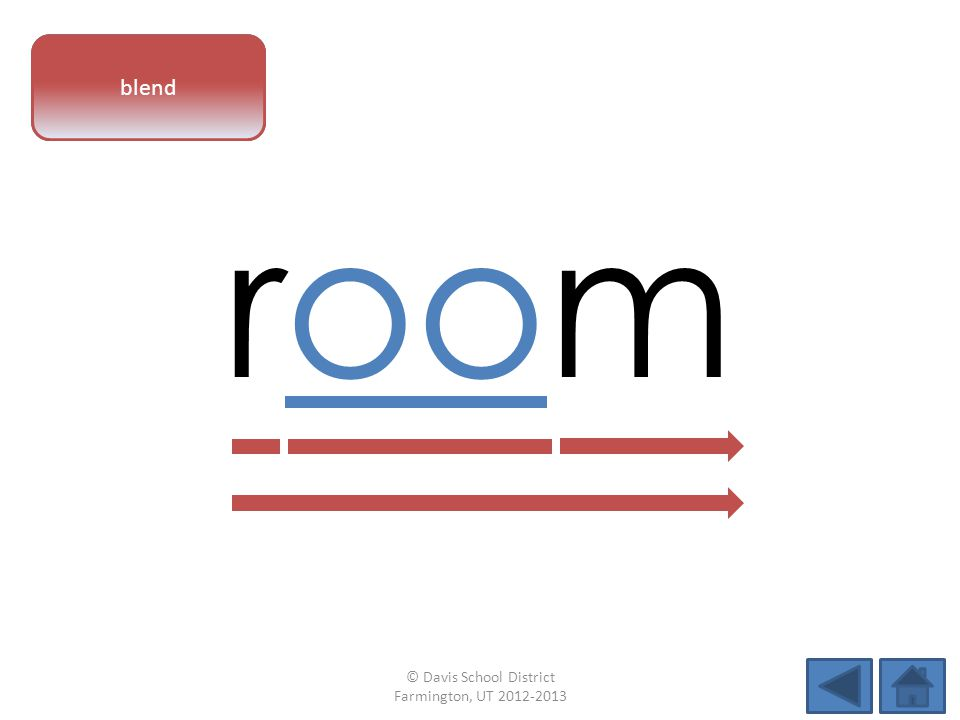 vowel pattern room blend © Davis School District Farmington, UT 2012-2013