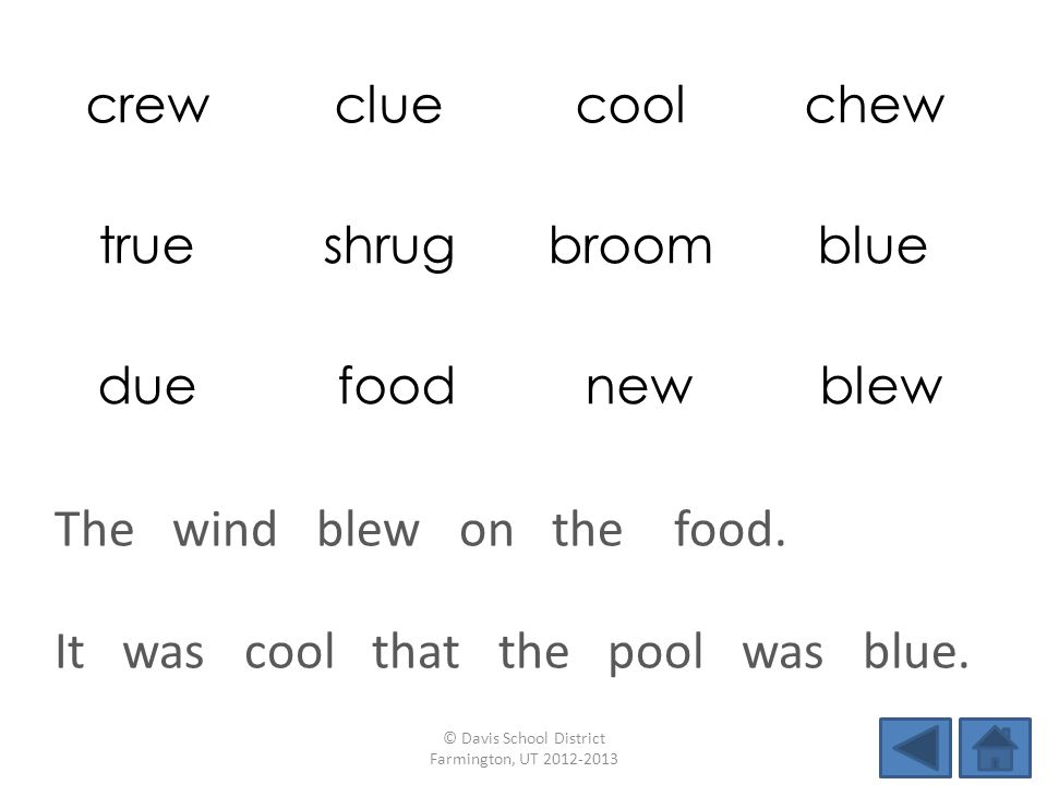 crewcluecoolchew trueshrugbroomblue due food new blew It was cool that the pool was blue.