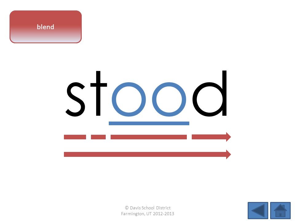 vowel pattern stood blend © Davis School District Farmington, UT 2012-2013