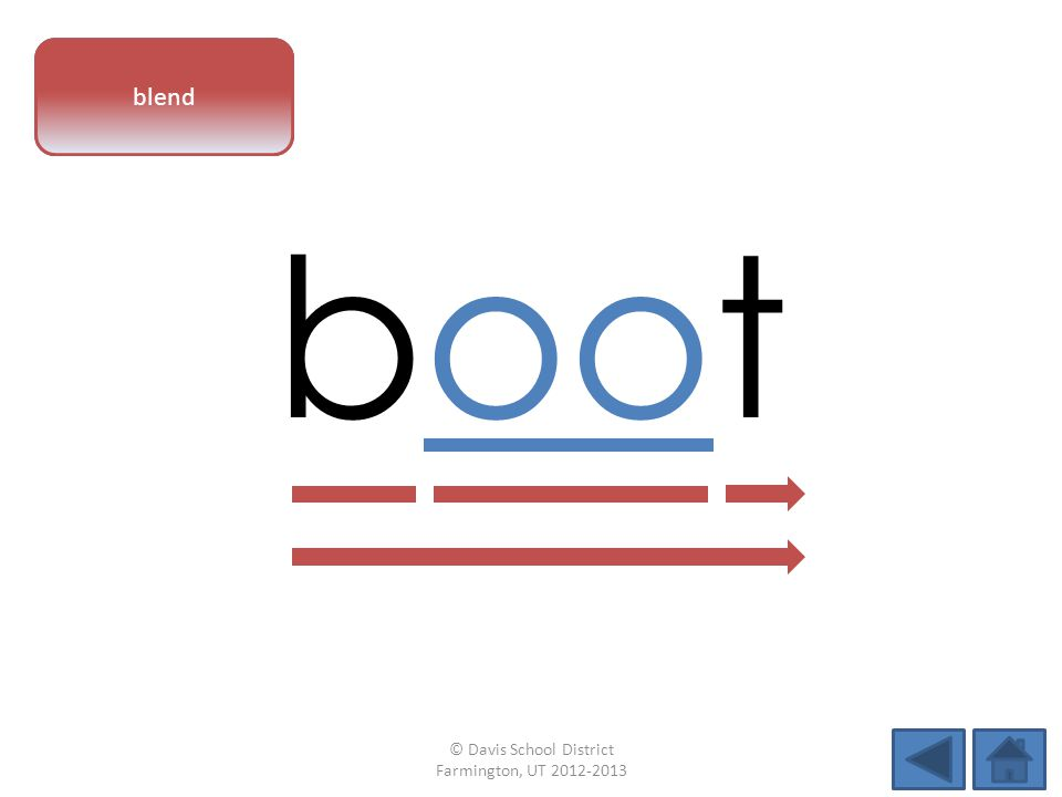 vowel pattern boot blend © Davis School District Farmington, UT 2012-2013