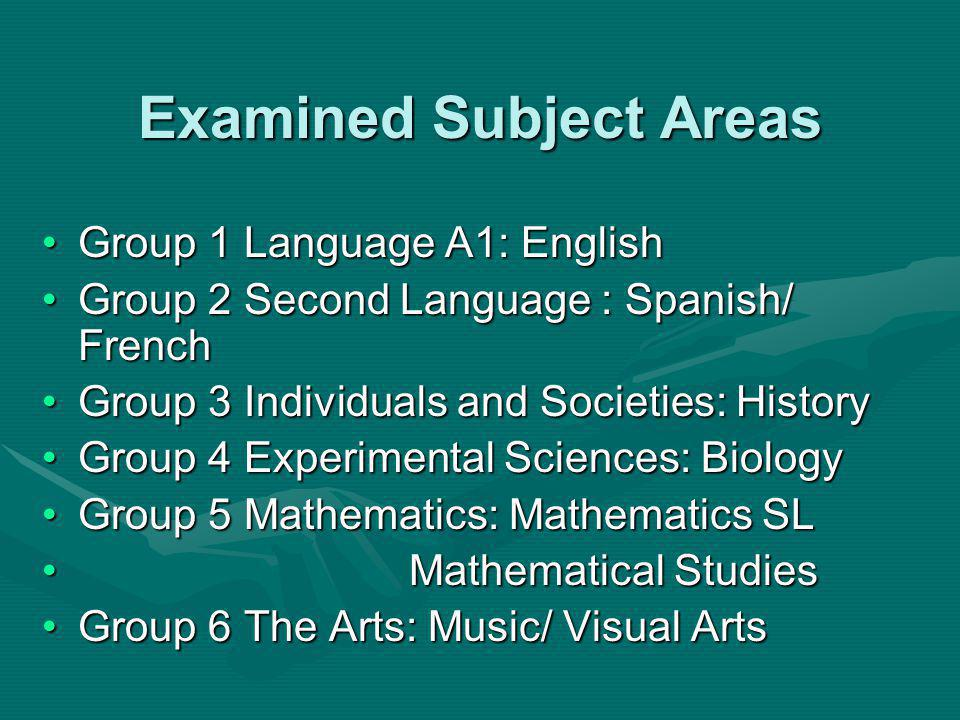 Examined Subject Areas Group 1 Language A1: EnglishGroup 1 Language A1: English Group 2 Second Language : Spanish/ FrenchGroup 2 Second Language : Spanish/ French Group 3 Individuals and Societies: HistoryGroup 3 Individuals and Societies: History Group 4 Experimental Sciences: BiologyGroup 4 Experimental Sciences: Biology Group 5 Mathematics: Mathematics SLGroup 5 Mathematics: Mathematics SL Mathematical Studies Mathematical Studies Group 6 The Arts: Music/ Visual ArtsGroup 6 The Arts: Music/ Visual Arts