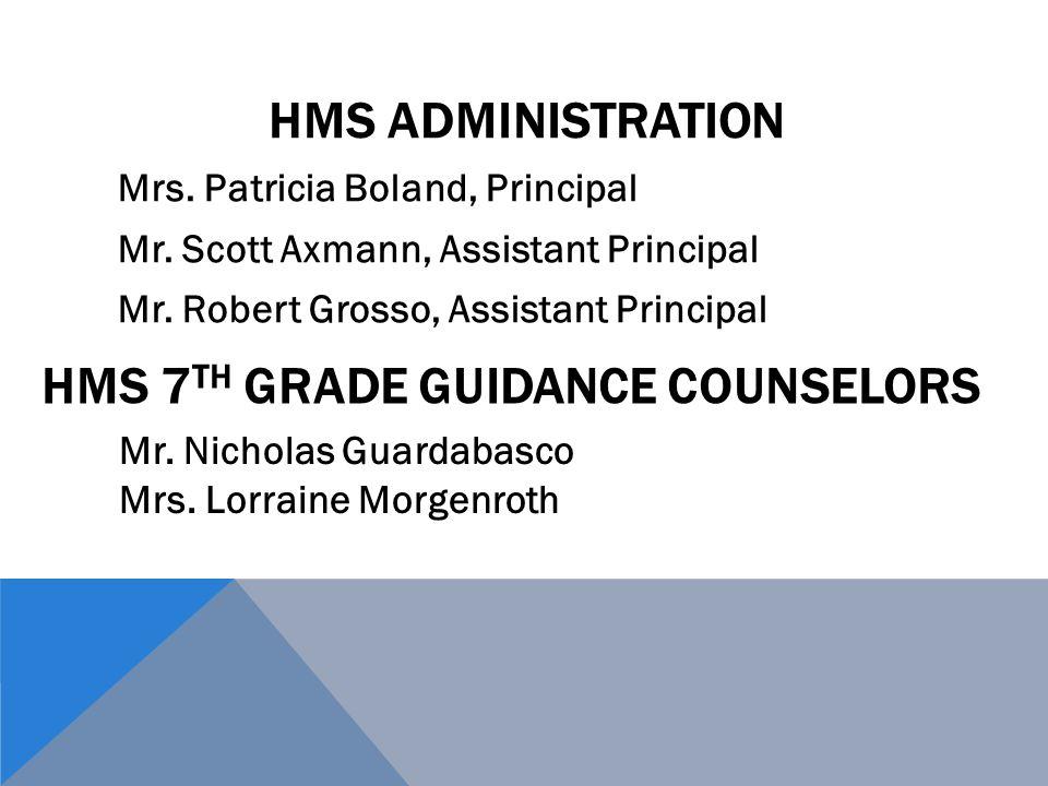 HMS ADMINISTRATION Mrs. Patricia Boland, Principal Mr.