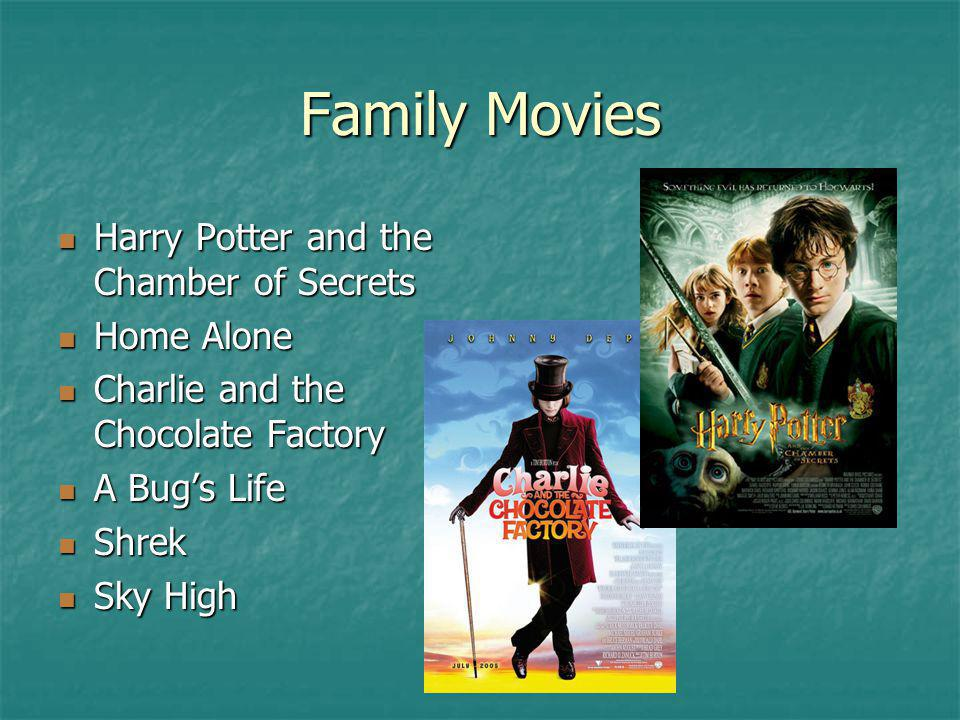 Family Movies Harry Potter and the Chamber of Secrets Harry Potter and the Chamber of Secrets Home Alone Home Alone Charlie and the Chocolate Factory