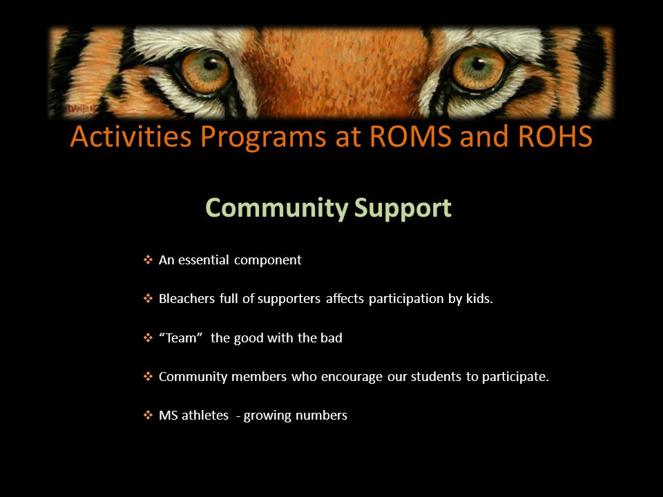Activities Programs at ROMS and ROHS Community Support An essential component Bleachers full of supporters affects participation by kids.
