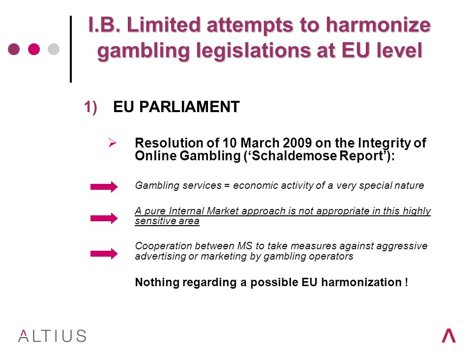 1)EU PARLIAMENT Resolution of 10 March 2009 on the Integrity of Online Gambling (Schaldemose Report): Gambling services = economic activity of a very special nature A pure Internal Market approach is not appropriate in this highly sensitive area Cooperation between MS to take measures against aggressive advertising or marketing by gambling operators Nothing regarding a possible EU harmonization !