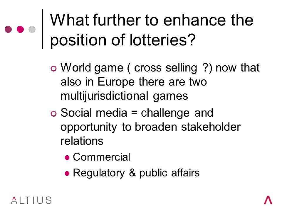 What further to enhance the position of lotteries.