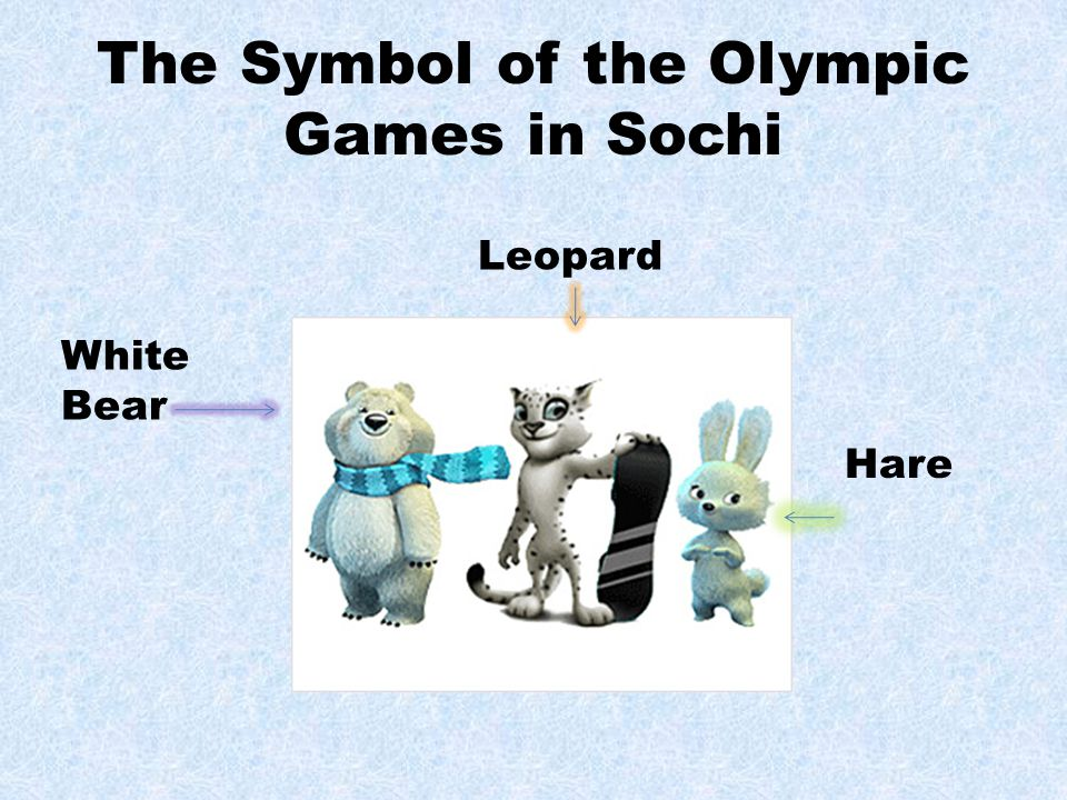 The Symbol of the Olympic Games in Sochi White Bear Leopard Hare
