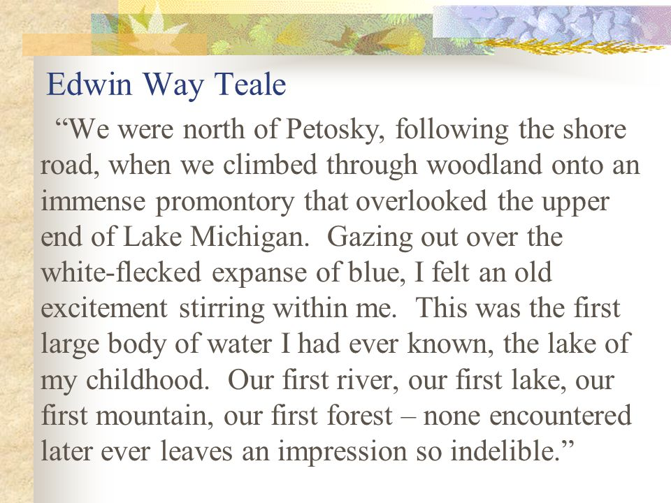 Edwin Way Teale We were north of Petosky, following the shore road, when we climbed through woodland onto an immense promontory that overlooked the upper end of Lake Michigan.