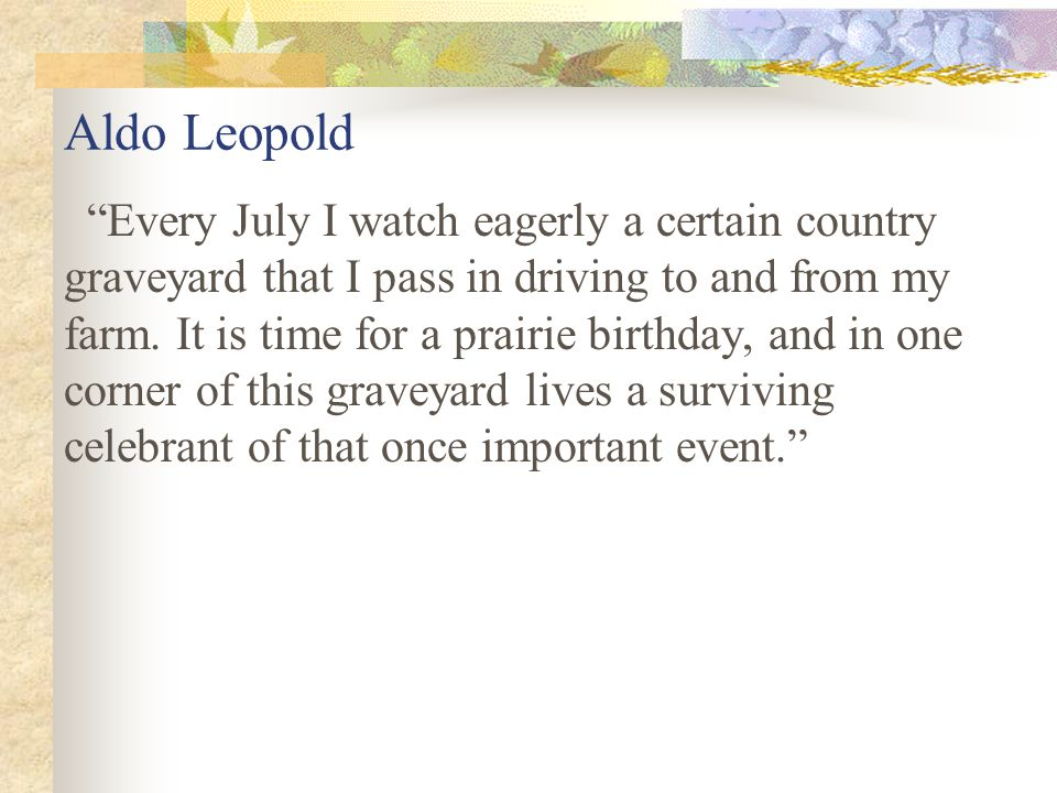 Aldo Leopold Every July I watch eagerly a certain country graveyard that I pass in driving to and from my farm.
