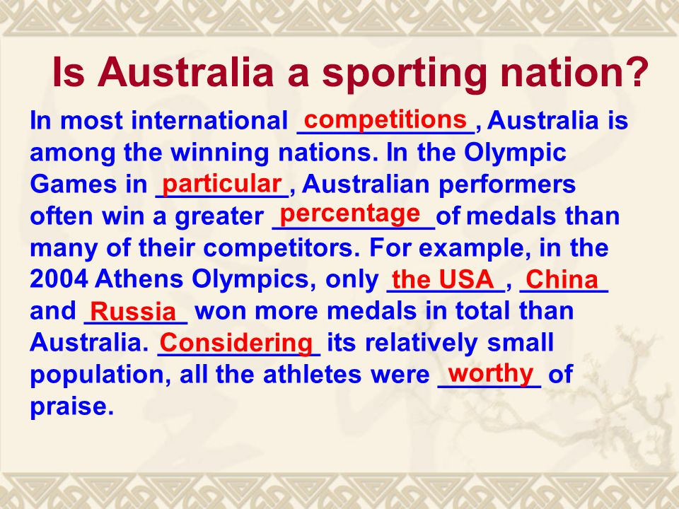 Is Australia a sporting nation.