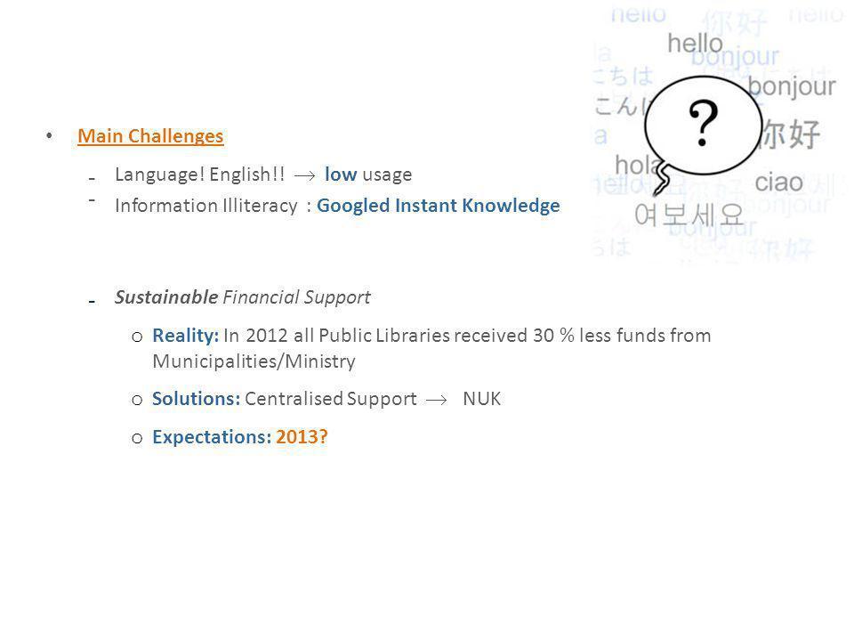 Main Challenges Language. English!.
