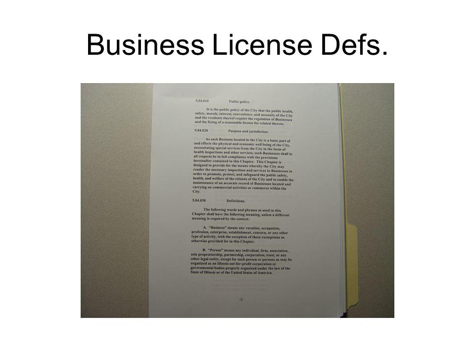 Business License Defs.