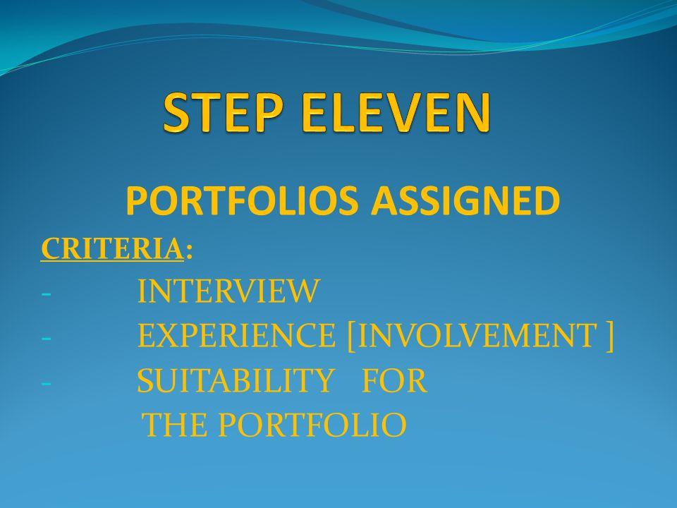 PORTFOLIOS ASSIGNED CRITERIA: - INTERVIEW - EXPERIENCE [INVOLVEMENT ] - SUITABILITY FOR THE PORTFOLIO