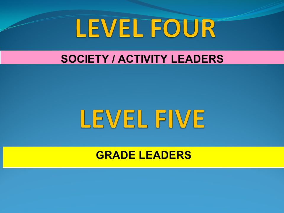 SOCIETY / ACTIVITY LEADERS GRADE LEADERS