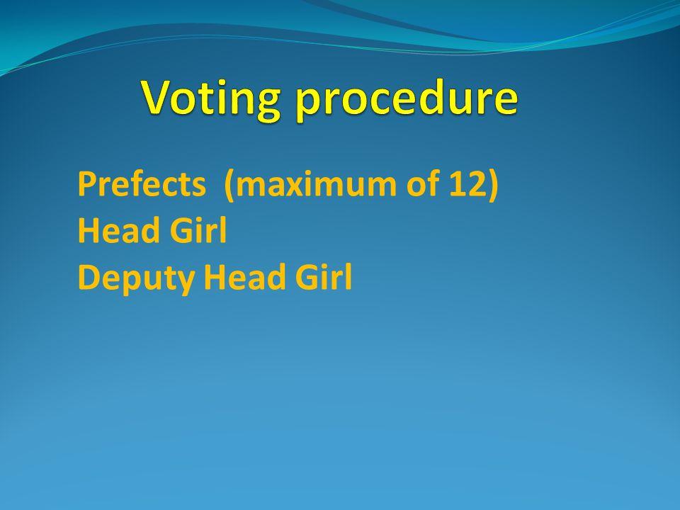 Prefects (maximum of 12) Head Girl Deputy Head Girl