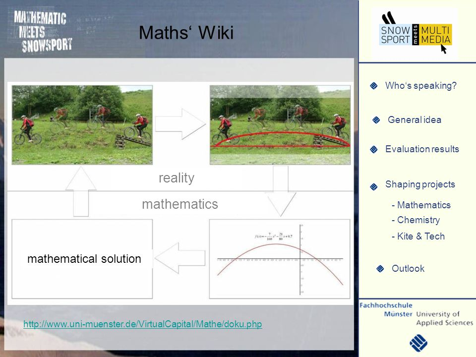 Whos speaking? General idea Evaluation results Shaping projects Outlook - Mathematics - Chemistry - Kite & Tech Cooperative WIKI http://www.uni-muenst