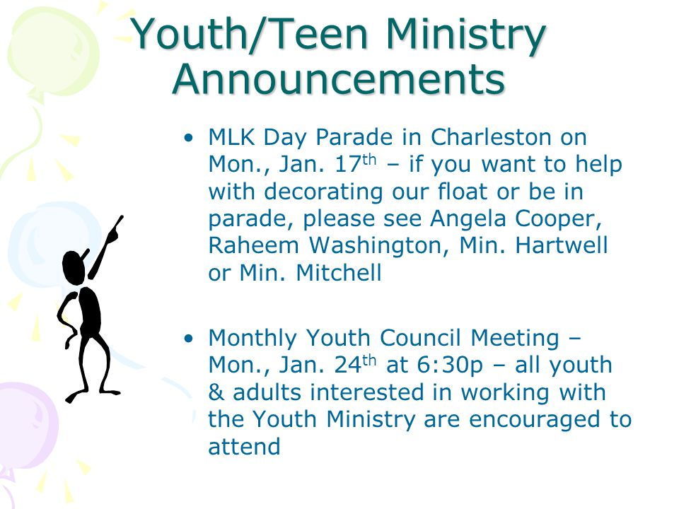 Youth/Teen Ministry Announcements MLK Day Parade in Charleston on Mon., Jan.