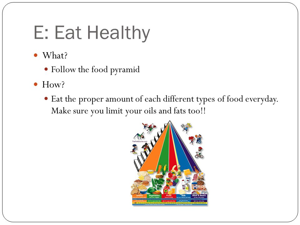E: Eat Healthy What. Follow the food pyramid How.