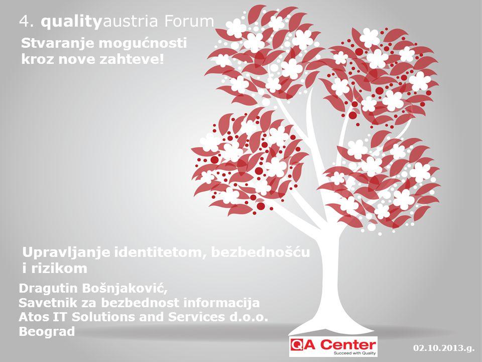 4. qualityaustria Forum Upravljanje identitetom, bezbednošću i rizikom Dragutin Bošnjaković, Savetnik za bezbednost informacija Atos IT Solutions and