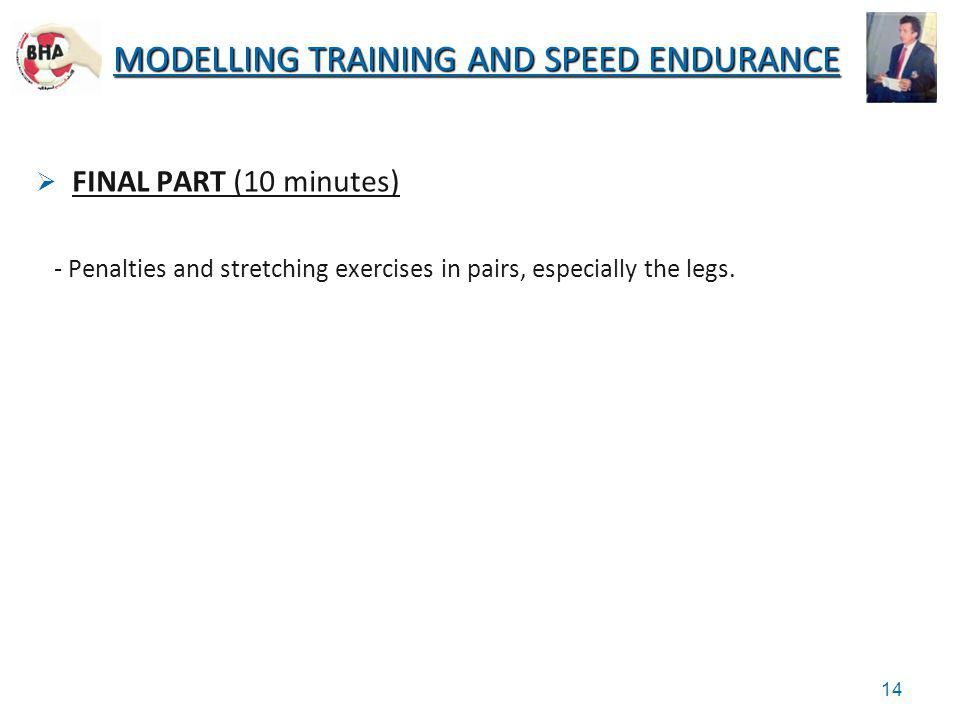 FINAL PART (10 minutes) - Penalties and stretching exercises in pairs, especially the legs. MODELLING TRAINING AND SPEED ENDURANCE 14