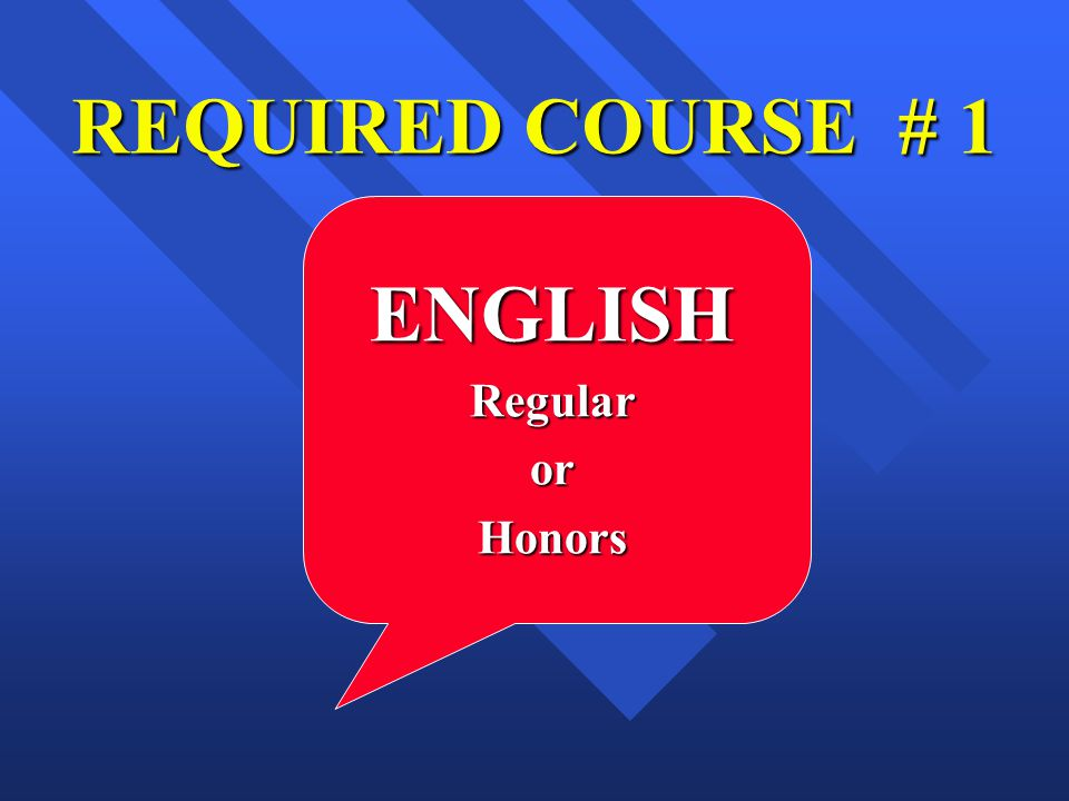 REQUIRED COURSE # 1 ENGLISHRegularorHonors
