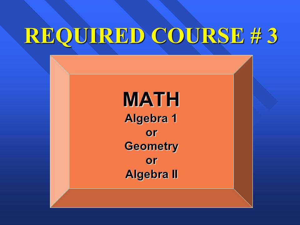 REQUIRED COURSE # 3 MATH Algebra 1 orGeometryor Algebra II