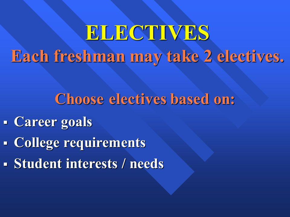 ELECTIVES Each freshman may take 2 electives.