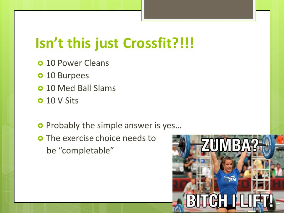 Isnt this just Crossfit !!.