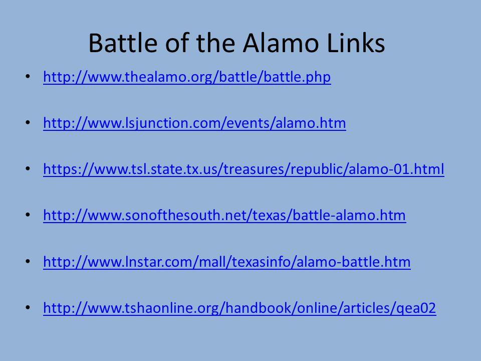 Battle of the Alamo Links http://www.thealamo.org/battle/battle.php http://www.lsjunction.com/events/alamo.htm https://www.tsl.state.tx.us/treasures/r