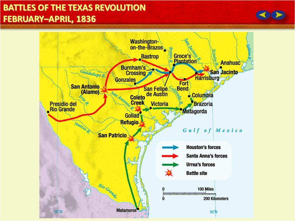 BATTLES OF THE TEXAS REVOLUTION FEBRUARY–APRIL, 1836