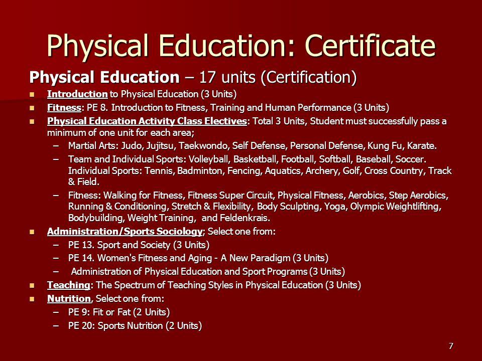 Strength and Conditioning Strength and Conditioning - 16 units (Certification) Strength and Conditioning - 16 units (Certification) –PE 8.