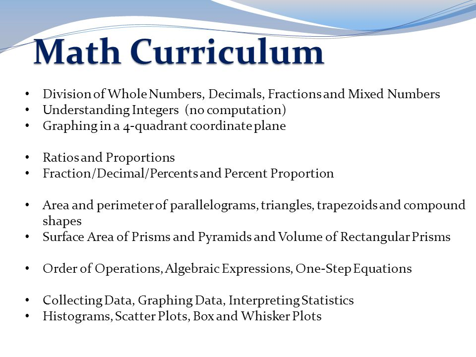 Math Curriculum Division of Whole Numbers, Decimals, Fractions and Mixed Numbers Understanding Integers (no computation) Graphing in a 4-quadrant coor