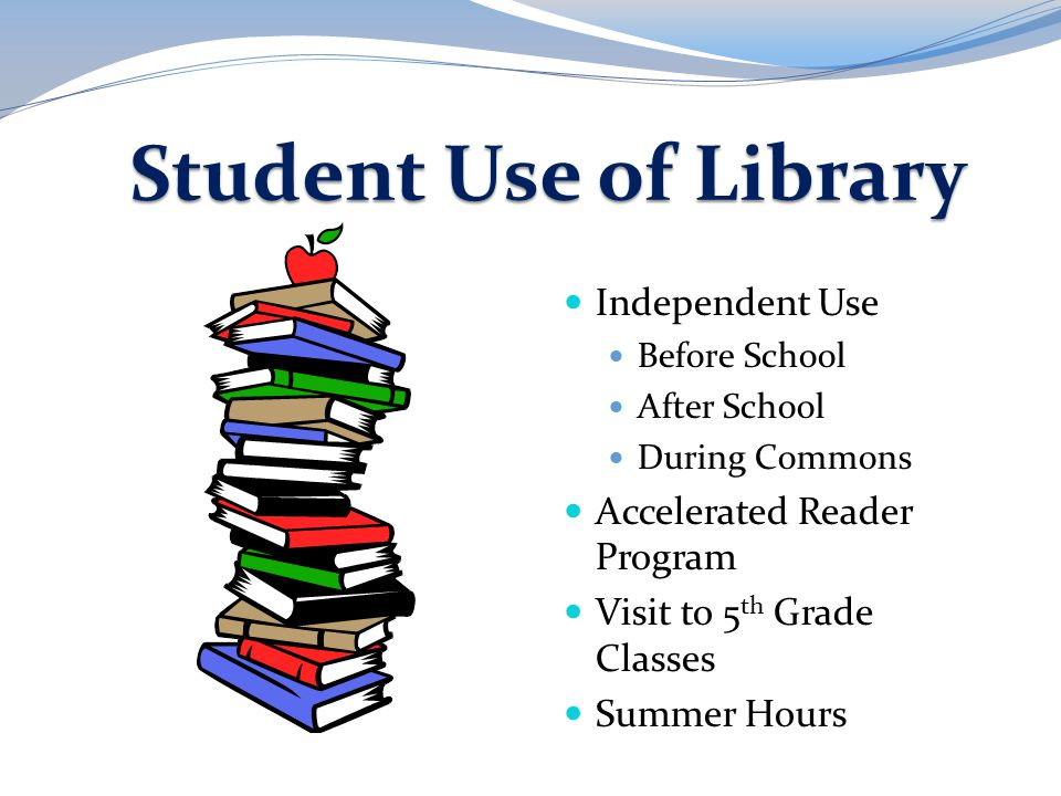Student Use of Library Independent Use Before School After School During Commons Accelerated Reader Program Visit to 5 th Grade Classes Summer Hours
