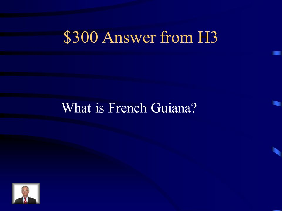 $300 Question from H3 Country that is still a French colony today