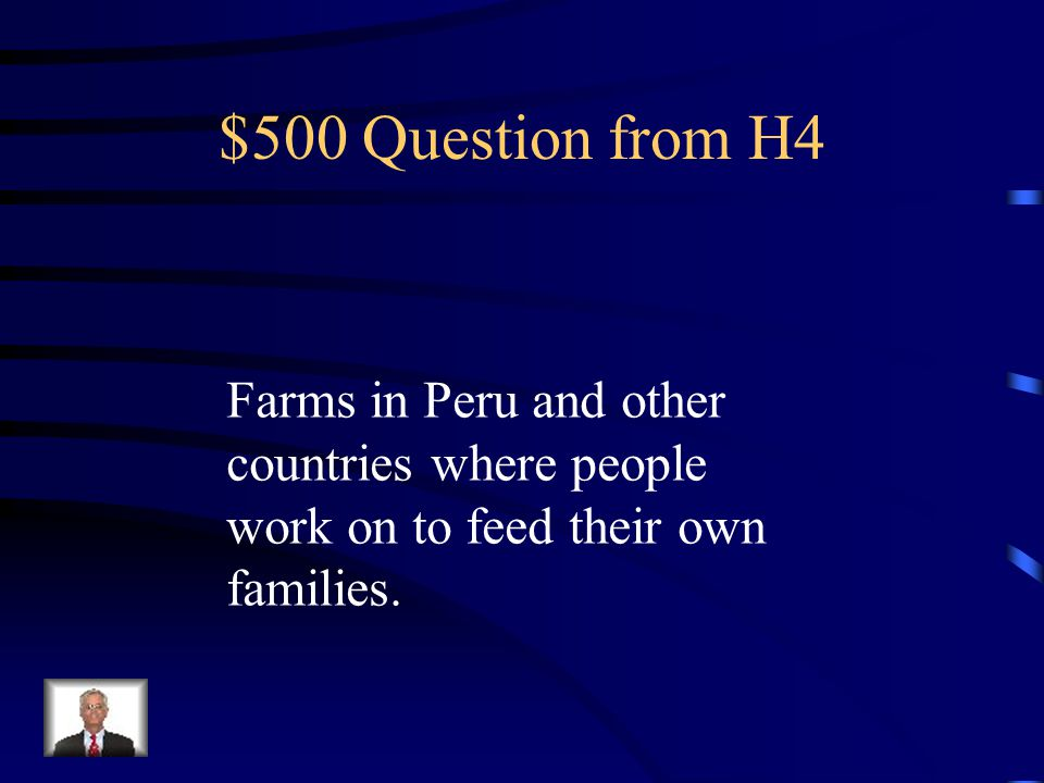 $400 Answer from H4 What is Colombia