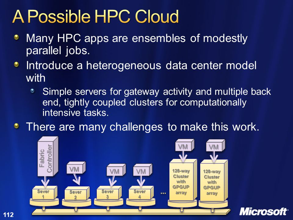 112 Many HPC apps are ensembles of modestly parallel jobs. Introduce a heterogeneous data center model with Simple servers for gateway activity and mu