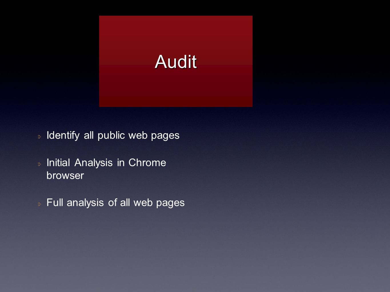 Identify all public web pages Initial Analysis in Chrome browser Full analysis of all web pages AuditAudit