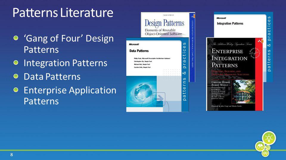 8 Patterns Literature Gang of Four Design Patterns Integration Patterns Data Patterns Enterprise Application Patterns