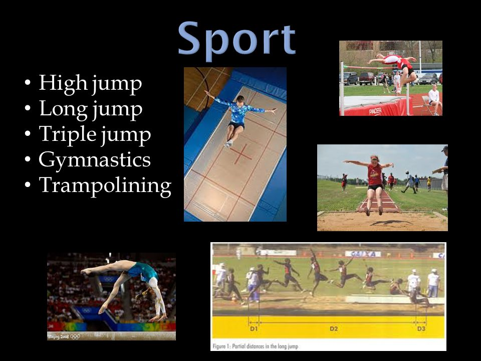 High jump Long jump Triple jump Gymnastics Trampolining