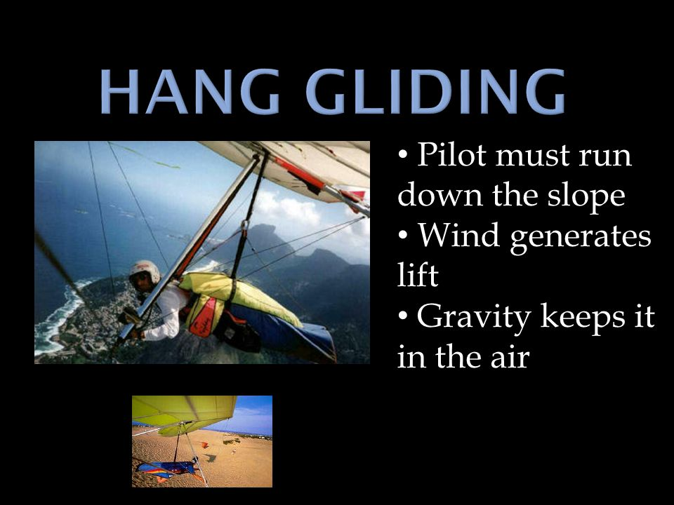 Pilot must run down the slope Wind generates lift Gravity keeps it in the air