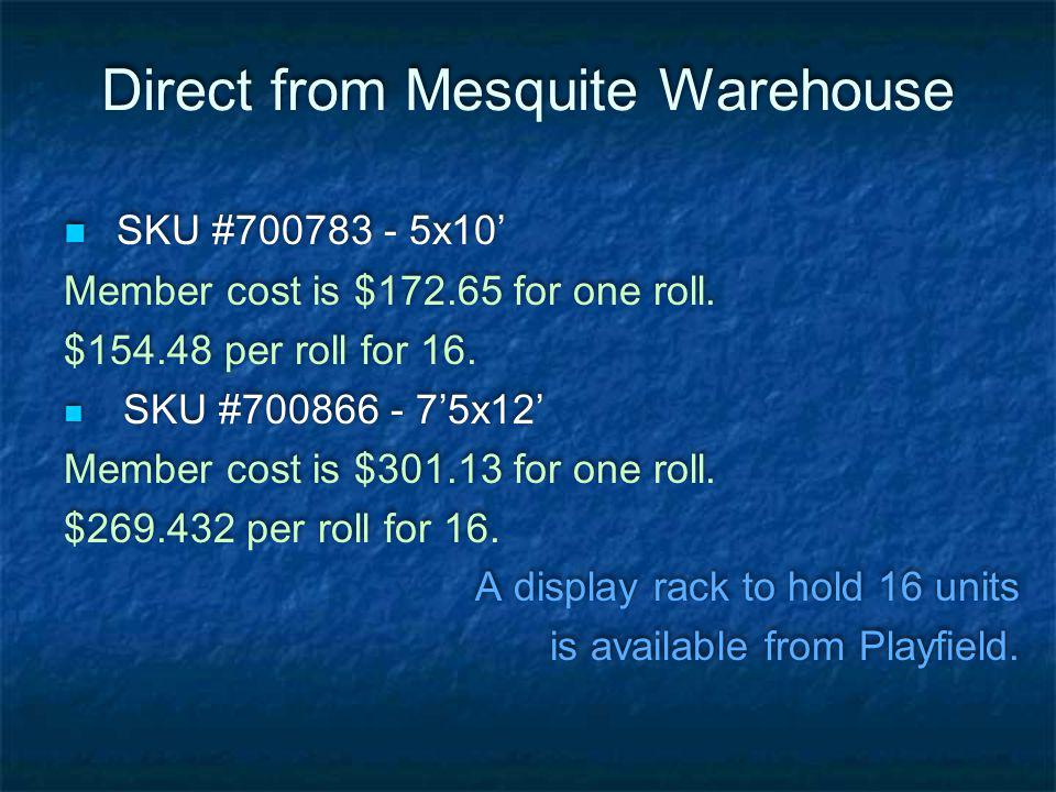 Direct from Mesquite Warehouse SKU #700783 - 5x10 Member cost is $172.65 for one roll.