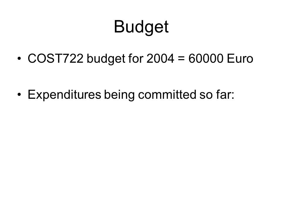 Budget COST722 budget for 2004 = 60000 Euro Expenditures being committed so far: