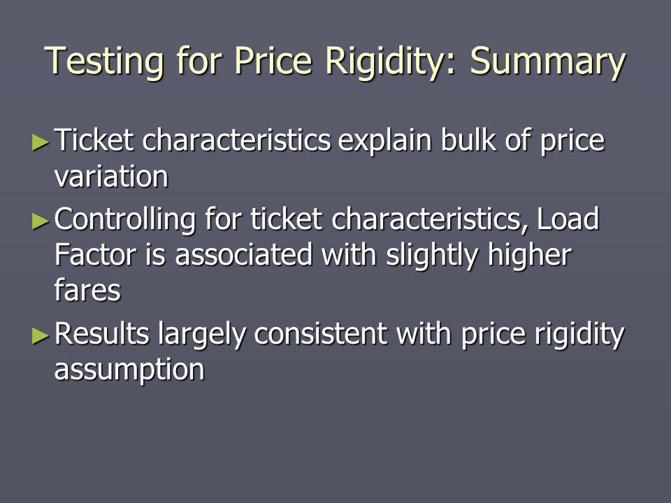 Testing for Price Rigidity: Summary Ticket characteristics explain bulk of price variation Ticket characteristics explain bulk of price variation Cont