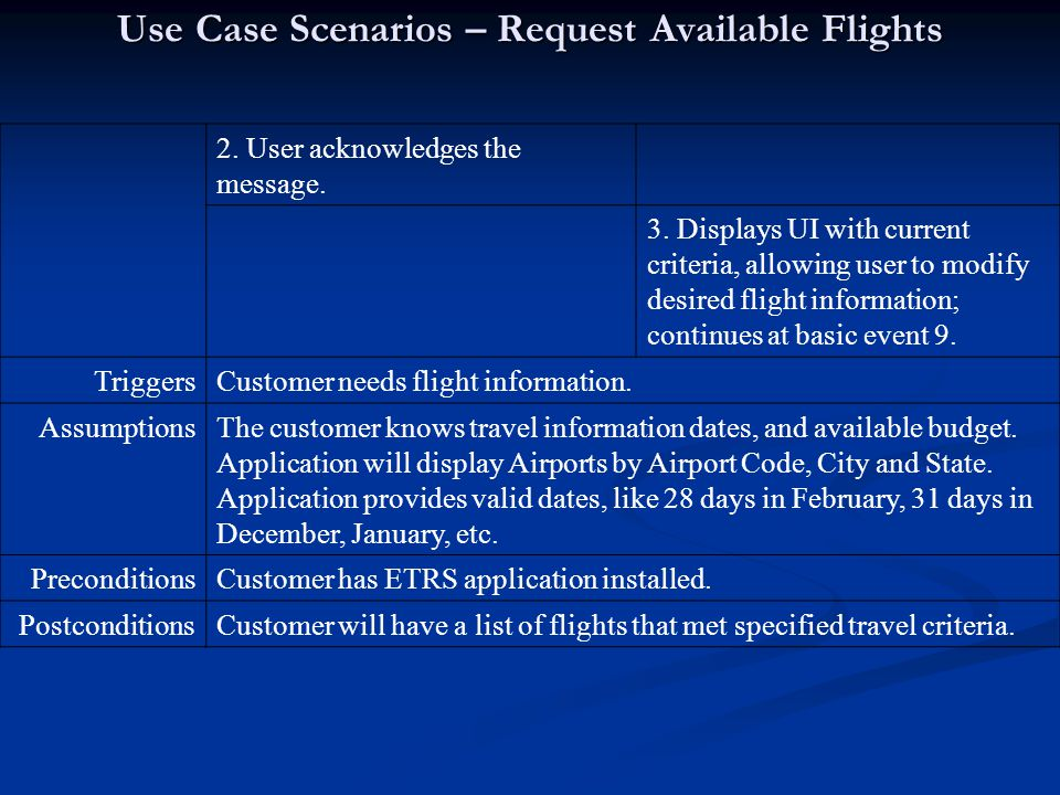 Use Case Scenarios – Request Available Flights 2. User acknowledges the message.