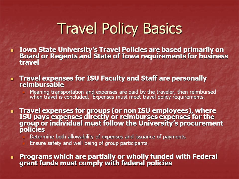 Federal Per Diem Rates Hotel and food per diems must not exceed the federal guidelines If guidelines can not be met, must come up with alternative funding (non-federal) to pay for the difference Federal Per Diem rates can be found at: –http://www.gsa.gov/Portal/gsa/ep/contentView.do?programId=9704&channelId=- 15943&ooid=16365&contentId=17943&pageTypeId=8203&contentType=GSA_BASIC &programPage=%2Fep%2Fprogram%2FgsaBasic.jsp&P=MTThttp://www.gsa.gov/Portal/gsa/ep/contentView.do?programId=9704&channelId=- 15943&ooid=16365&contentId=17943&pageTypeId=8203&contentType=GSA_BASIC &programPage=%2Fep%2Fprogram%2FgsaBasic.jsp&P=MTT