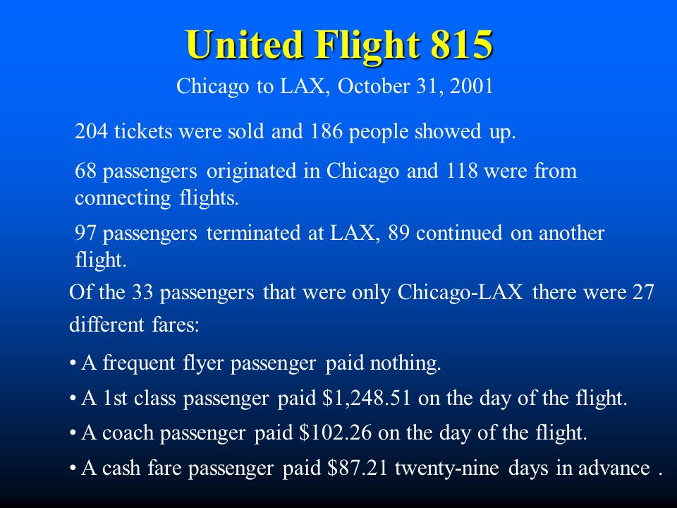United Flight 815 Chicago to LAX, October 31, 2001 204 tickets were sold and 186 people showed up. 68 passengers originated in Chicago and 118 were fr