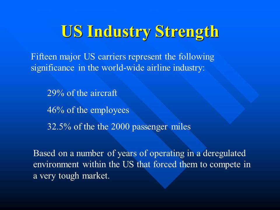 US Industry Strength Fifteen major US carriers represent the following significance in the world-wide airline industry: 29% of the aircraft 46% of the
