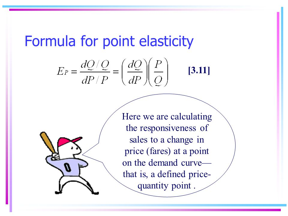 Point elasticity In our previous example we computed the elasticity for a certain segment of the demand curve (point A to B).
